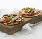 Minipizza med oksespegepølse